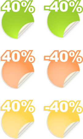vector stickers with text  percent Vector