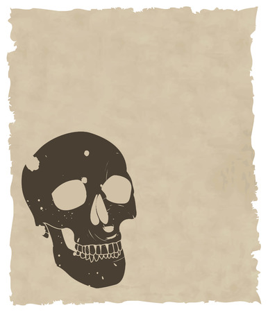 vector skull danger sign: the brown vector grunge skull on old paper 8