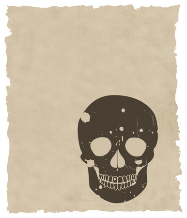 the brown vector grunge skull on old paper 8 Vector