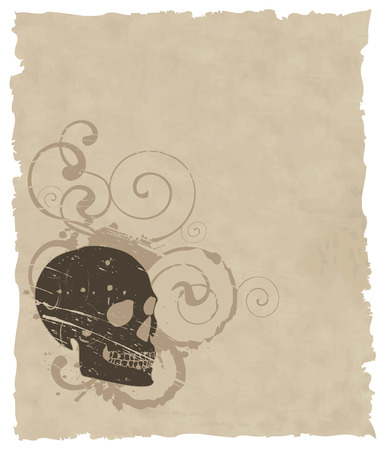 the brown vector grunge skull on old paper 8 Stock Vector - 4453659