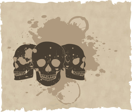 the brown vector grunge skull on old paper 8 Stock Vector - 4453658