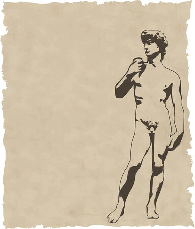 david and goliath: the vector sculpture david on old paper Illustration