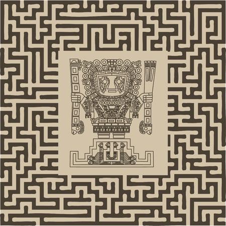 tribu: inca y maya vector símbolos tribales en laberinto Vectores
