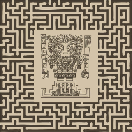 vector mayan and inca tribal symbols on maze Vector