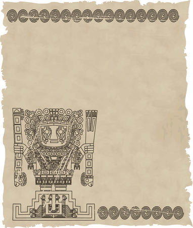 excavation: vector mayan and inca tribal symbols on old paper