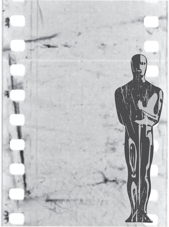 strip show: vector statuette in old film background