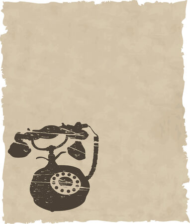 vector old phone on brown paper Vector