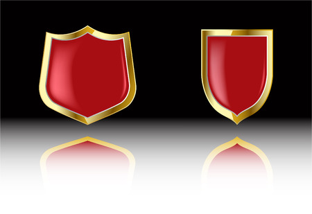 the two vector red shield Stock Vector - 4525960