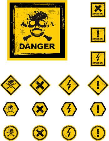 the vector danger grunge buttons Stock Vector - 4550643