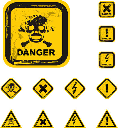 the vector danger grunge buttons Vector