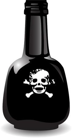 poison bottle: il vettore nero bottiglia di veleno Vettoriali