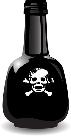 the vector black bottle of the poison Illustration