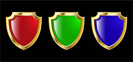 the set vector red blue and green shield Stock Vector - 4550606