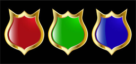 the set vector red blue and green shield Stock Vector - 4550615