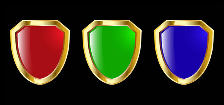 the set vector red blue and green shield Stock Vector - 4550614