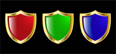 the set vector red blue and green shield  Vector