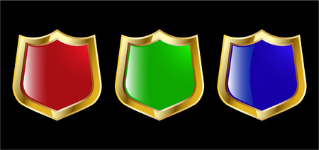 the set vector red blue and green shield Stock Vector - 4550617