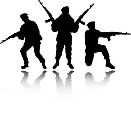 cartoon soldat: der Vektor Soldaten Silhouetten Illustration