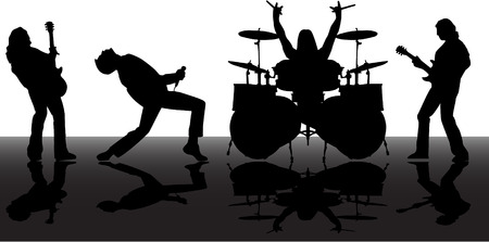 modern rock: the vector musicans silhouettes set 8