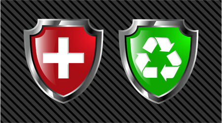 the set vector red and green shield  Vector