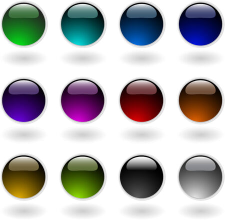 the vector color circle button 8 Vector
