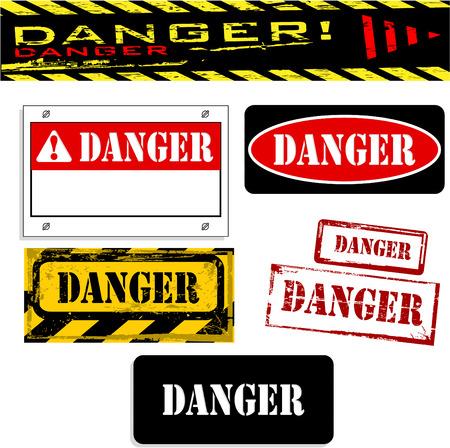 the vector dirty orange danger banner set 8 Stock Vector - 4550641