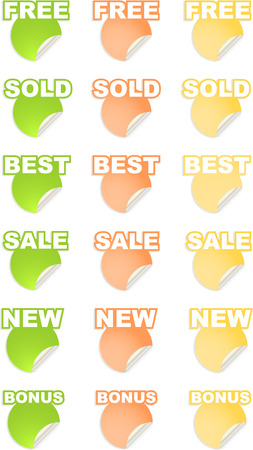 vector stickers with text set Vector