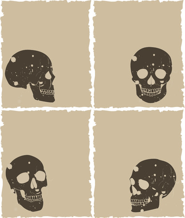 the brown vector grunge skull set on old paper Vector