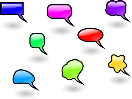 the vector color shiny speech bubbles set 8 Vector