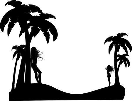 the vector silhouette girl on tropical beach 8 Ilustração