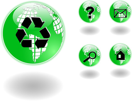 the vector green globe with symbols 8 Vector