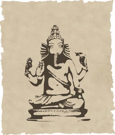 ganesh: la estatua de Ganesha vector eps 8