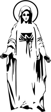 jungfrau maria: der Vektor Jungfrau Maria Statue Silhouette eps 8 Illustration