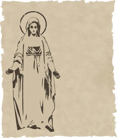 cat�licismo: el vector Virgen estatua silueta eps 8 Vectores