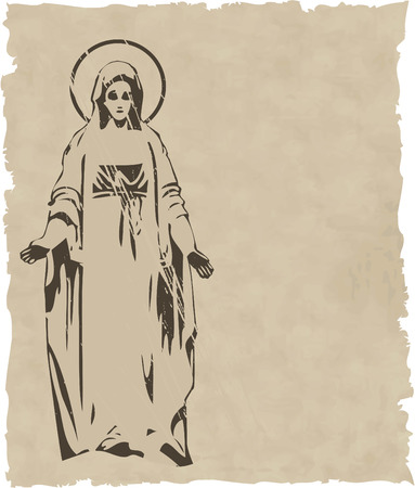 the vector Virgin Mary statue silhouette 8 Vector