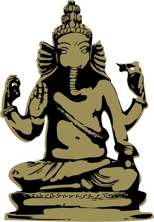 indian yoga: la statua di ganesha vettoriale 8
