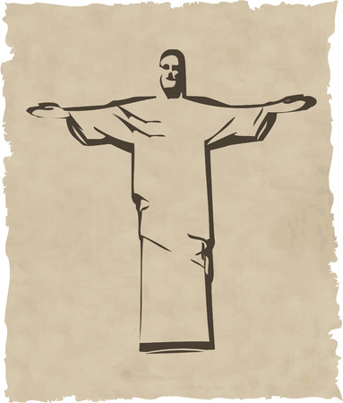 outstretched: the vector iesus christ rio de janeiro statue silhouette 8