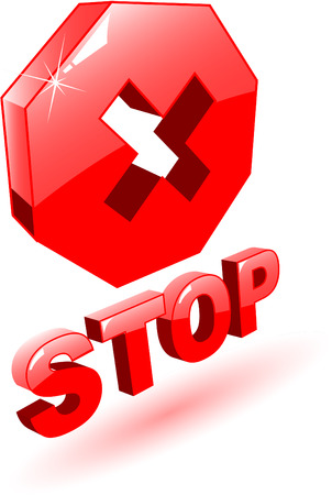 no way: the 3d red vector stop symbol on white