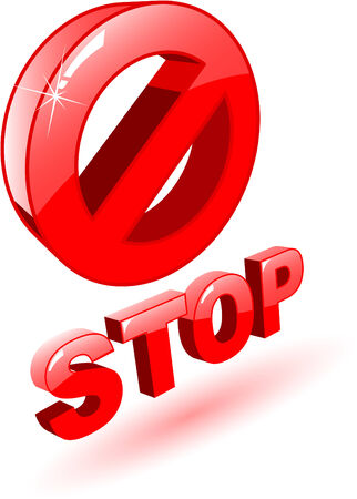 the 3d red vector stop symbol on white Vector
