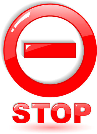 the red vector stop symbol on white Stock Vector - 4897702
