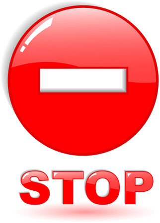 the red vector stop symbol on white Stock Vector - 4897701