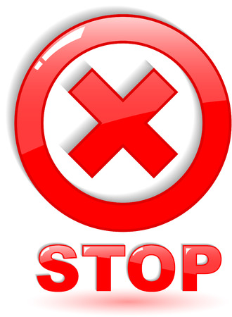 no way: the red vector stop symbol on white Illustration