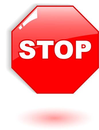 de rode vector stoppen symbool op wit