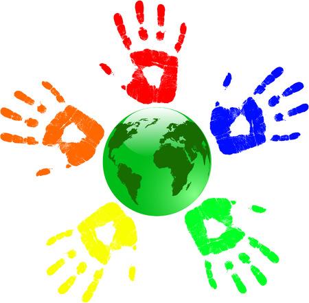 wereldbol groen: de vector Green Globe en kleur handen Stock Illustratie