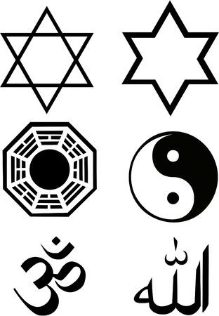 Mantra: die Vektor-Religion-Symbolsatz  Illustration