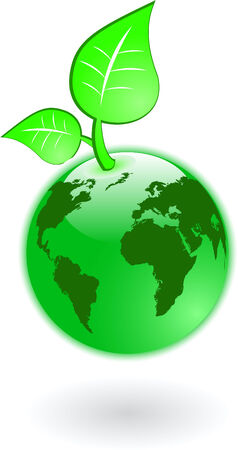 the vector green world map and globe  Vector