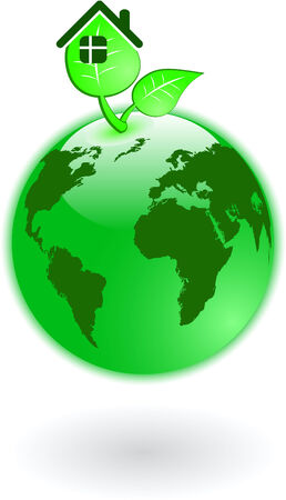 the vector green world globe  Vector