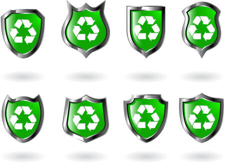 the set vector green shield with recycled symbol Stock Vector - 4991795