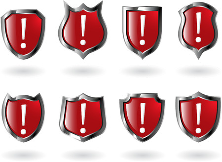 plaques: the set vector red shield with exclamation mark