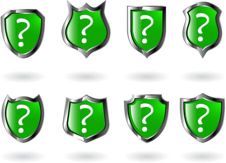the set vector green shield with question mark Vector